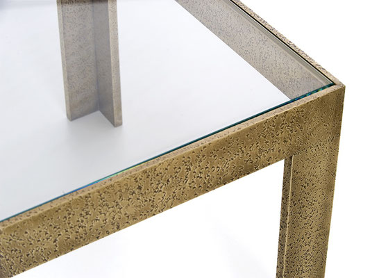 Textured bronze coffee table with glass top for Chanel