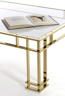 Polished mirror bronze coffee table for Dior