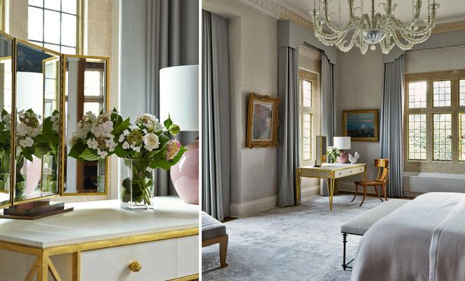 Bureau et miroirs en laiton et acier avec finition à la feuille d'or - Résidence privée
