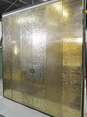 Textured bronze folding doors
