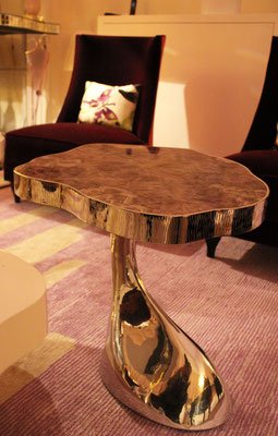 Set of pewter tables and tops in amethyst marquetry - Private residence - London