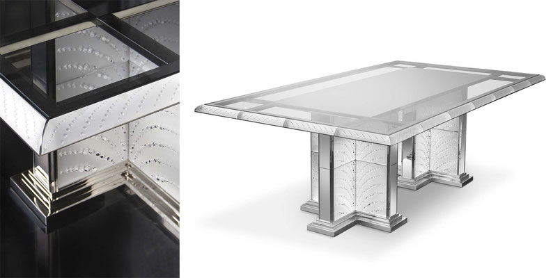 Coutard Table by Pierre-Yves Rochon & Lalique for Signature Collection - Table in crystal, bright nickel and extra white glass