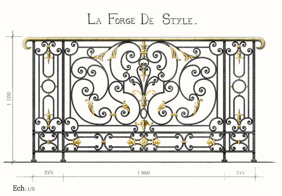 Study design - Wrought iron railing and gilt bronze foliage 24 carats made from sculpted models - Private residence