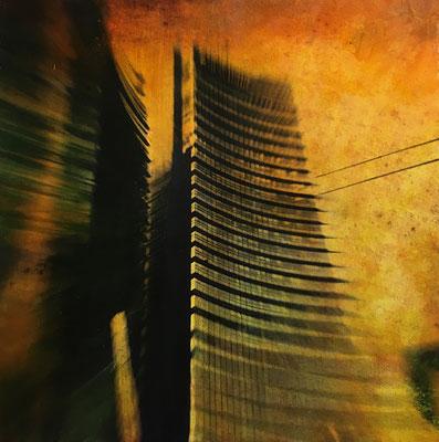 UNICREDIT - cm. 31x31 - Elaborazione digitale, olio e mixed media su carta