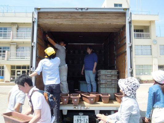 花農家のトラックいっぱいに積み込み、南沢の農家へ運びました。