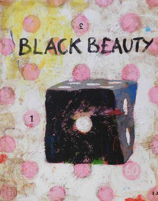 black beauty 2016, 70x55 cm, acrylic, crayons, sand on canvas