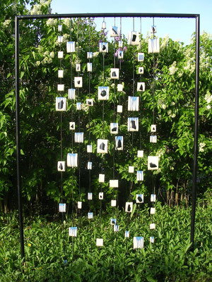 wasserfall 2005, glas, keramik und eisen