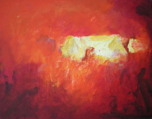 (SOLD) weißer hof auf rot 2011, 76x97 cm