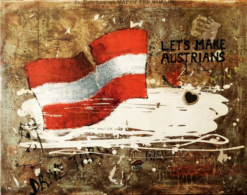 """let's make austrians"", oil on world map on canvas, 90x115 cm"