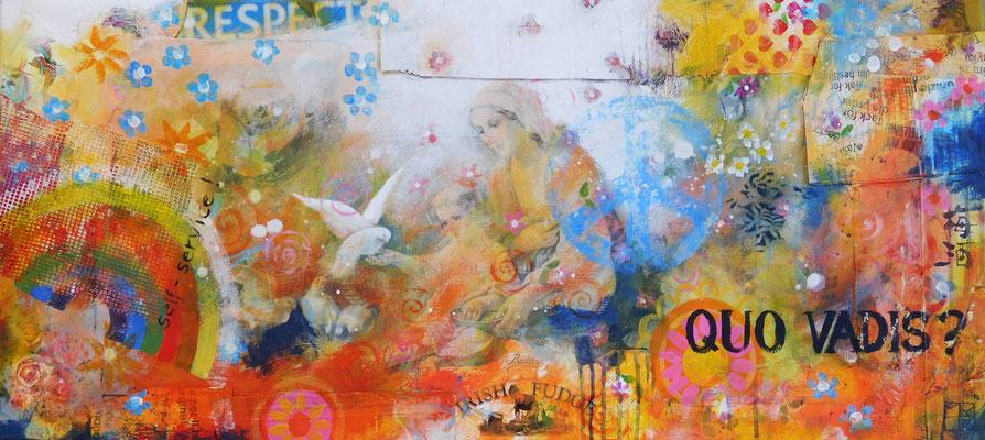 quo vadis 2016, 40x100 cm, acrylic, paper, cardboard on wood