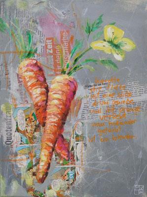 """""""karotten"""", 40x30 cm, acrylic, paper on canvas"""