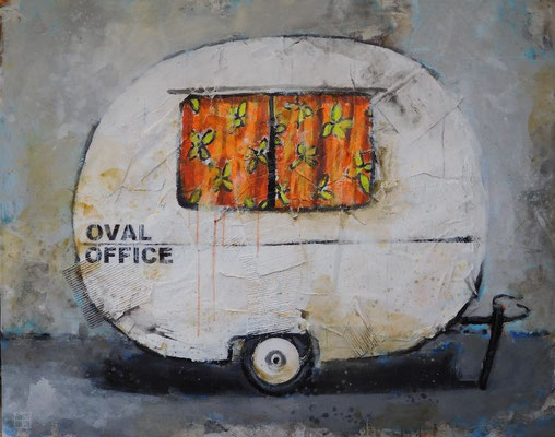 oval office 2017, acrylic, cardboard, paper on canvas, 110x140 cm