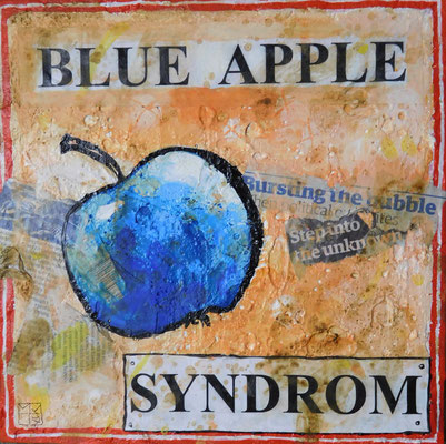 blue apple syndrom, 2017, acrylic, paper on canvas