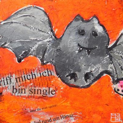 """hansi"", 20x20x4 cm, acrylic, paper on canvas"