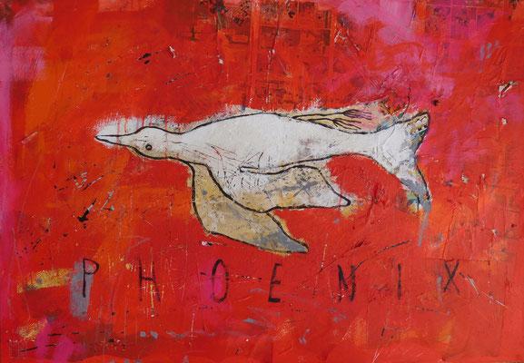 phoenix 2016, acrylic, crayons, paper on canvas, 80x110 cm