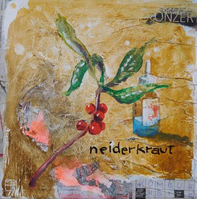 """neiderkraut"", 25x25 cm, acrylic, paper on canvas"