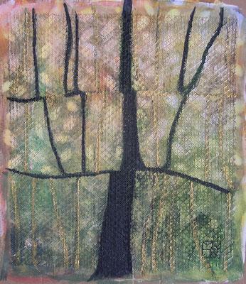 blühender baum, 45x35 cm, aquarell auf gesso auf gaze auf karton