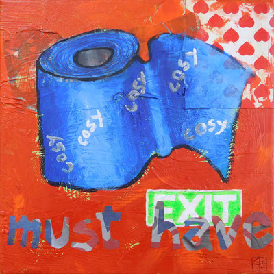 must have, 2016, 30x30 cm, acrylic, paper on canvas