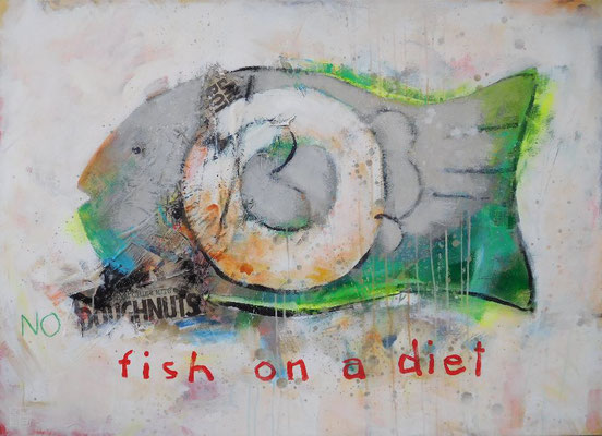 """fish on a diet"", 90x125 cm, acrylic, paper on canvas"