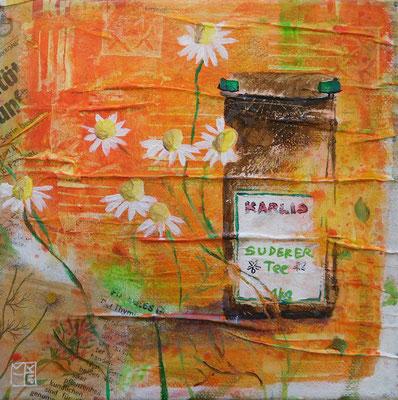 """suderertee"", 20x20 cm, acrylic, paper on canvas"
