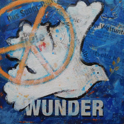 wunder, 2017, acrylic on paper on canvas, 20x20x4 cm