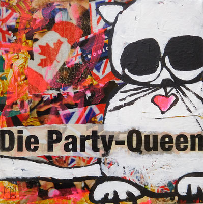 die party-queen 2016, 19,5x19,5x4,5 cm, acrylic and paper on canvas on woodframe
