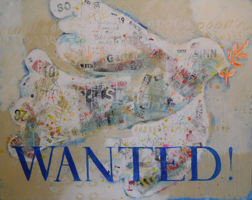 (SOLD) wanted dove 2016, 90x115 cm, acrylic, crayons and paper on canvas