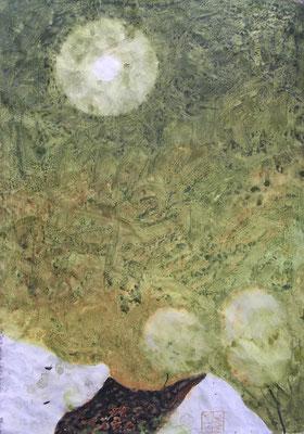 hof im mondlicht, 70x50 cm, aquarell auf gesso auf papier