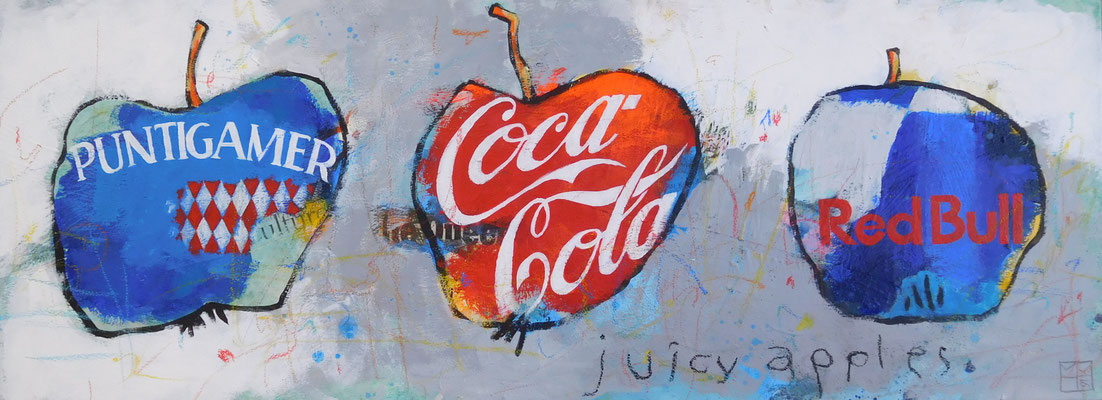juicy apples, 2016, 45x145 cm, acrylic, crayons, paper on canvas