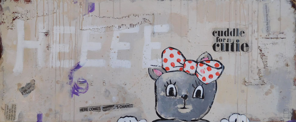 heeee 2016, acrylic and paper on canvas, 55x100 cm