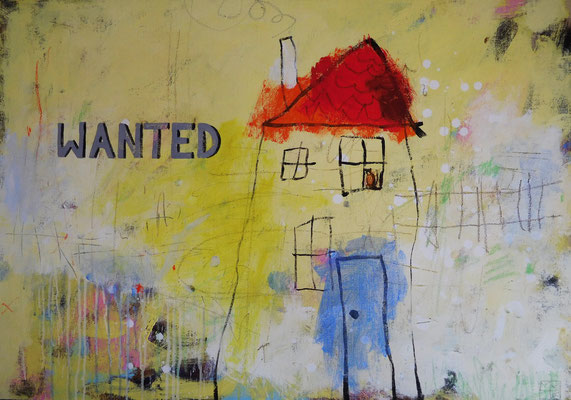 wanted 2016, 70x100 cm, acrylic, crayons on canvas