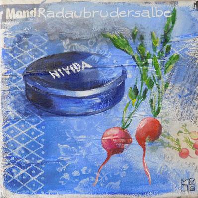 """radaubrudersalbe"", 20x20 cm, acrylic, paper on canvas"