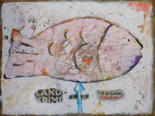 """landkrimi"", 60x80 cm, acrylic, paper on canvas"