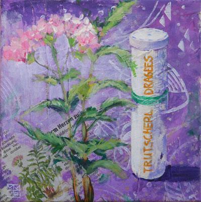 """trutscherldragees"", 20x20 cm, acrylic, paper on canvas"