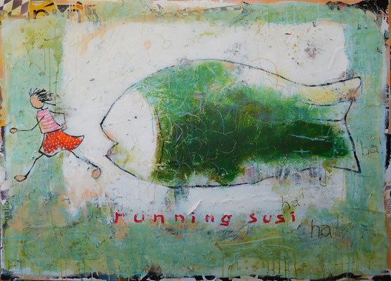 running susi 2017, acrylic, crayon, paper on canvas, 110x160 cm