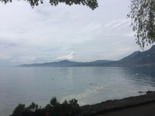 Blick von Montreux in Richtung Lausanne