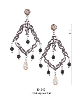E4242 OXI 100, GP 120: BOTANICAL GARDEN COLLECTION. OXI  EARRING POST WITH APRICOT CZ IN CUP, FILIGREE WITH JET INSIDE CENTER, BOTTOM JET DROPS AND APRICOT CZ CENTER DROP.