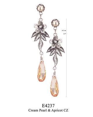E4237 OXI 70, GP 80: BOTANICAL GARDEN COLLECTION. OXI  POST EARRING CREAM PEARL IN CUP, FILIGREE FLOWER AND LEAVES WITH APRICOT CZ DROP.