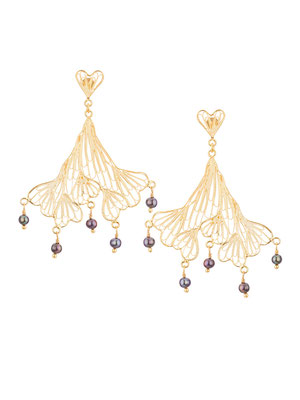 GPE4215 GP 145, OXI 125: GP EARRING FILIGREE HART POST, FILIGREE LEAF GRAY PEARL DROPS.