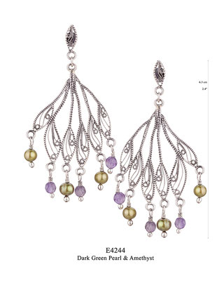 E4244 OXI 75, GP 85: BOTANICAL GARDEN COLLECTION. OXI EARRING LEAF POST, FILIGREE WITH DARK GREEN PEARL AND AMETHYST DROPS.