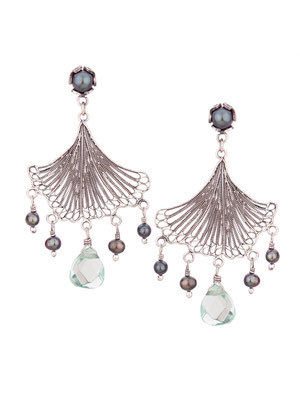 E4213P OXI 100, GP 120: OXI EARRING POST GREY PEARL IN  CUP, FILIGREE FAN LEAF GREY PEARL LIGHT GREEN AL CENTER DROP.