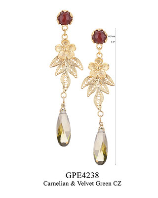 GPE4238 GP 80, OXI 70: BOTANICAL GARDEN COLLECTION. GP POST EARRING WITH CARNELIAN IN CUP, FILIGREE FLOWER AND LEAVES WITH VELVET GREEN CZ DROP.