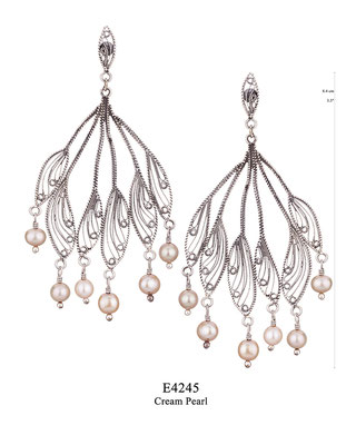 E4245 OXI 129, GP 149: BOTANICAL GARDEN COLLECTION. OXI EARRING LEAF POST, FILIGREE WITH CREAM PEARL DROPS.