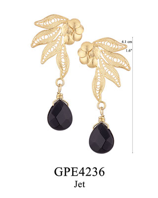 GPE4236 GP 75, OXI 65: BOTANICAL GARDEN COLLECTION, GP EARRING POST 4 FILIGREE LEAVES WITH A JET DROP.