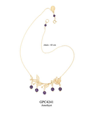 GPC4241 GP 124, OXI 104: BOTANICAL GARDEN COLLECTION, GP CHAIN, FILIGREE FLOWER & LEAVES W/ AMETHYST DROPS. 42 CM.