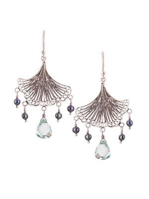 E4213H OXI 80, GP 90: OXI EARRING HANGING FILIGREE FAN LEAF GREY PEARL LIGHT GREEN AL CENTER DROP.
