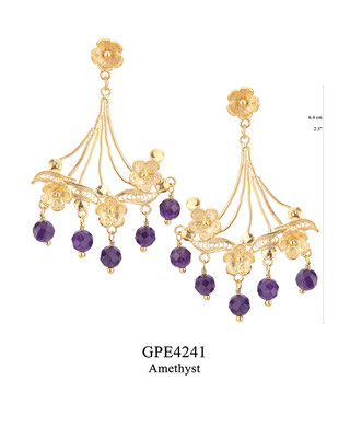 GPE4241 GP 120, OXI 100: BOTANICAL GARDEN COLLECTION. GP FILIGREE FLOWER POST EARRING, 3 FLOWERS WITH AMETHYST DROPS.