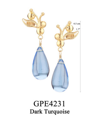 GPE4231 GP 75, OXI 65: BOTANICAL GARDEN COLLECTION. GP FILIGREE AND SOLID EARRING POST WITH DARK TURQUOISE AL DROP.