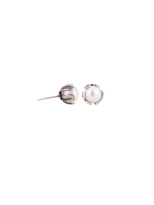 E4196 OXI 42, GP 48:  OXI EARRING POST W/ SILVER PEARL.