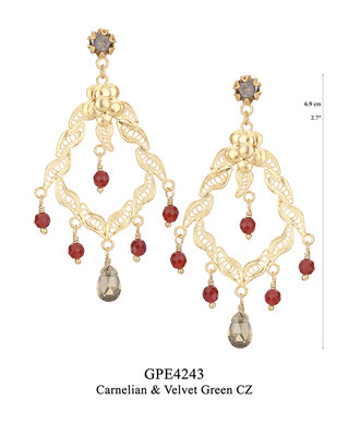 GPE4243 GP 120, OXI 100: BOTANICAL GARDEN COLLECTION. GP  EARRING POST WITH VELVET GREEN CZ IN CUP, FILIGREE WITH CARNELIAN INSIDE CENTER, BOTTOM CARNELIAN DROPS AND VELVET GREEN CZ CENTER DROP.